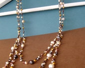 CLEARANCE SALE 50% OFF - Mixed Color Pearl Triple Strand Necklace