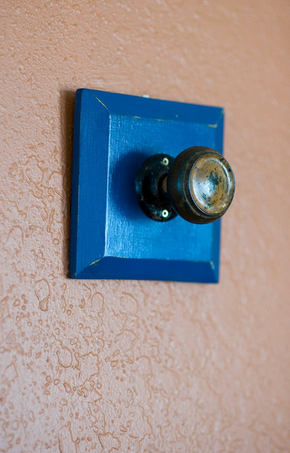 Knob - Jewelry and Accessory Hanger - Antique - Blue - Distressed