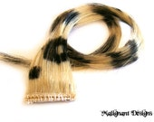 Pair 20 inch Black and Pale Blonde Leopard Print Hair Extensions - Scene, Emo, Goth, Punk, Raver, Kawaii