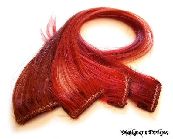 SET OF FOUR 16 Inch Red Clip-in/on Human Hair Extensions - Bulk Lot Save