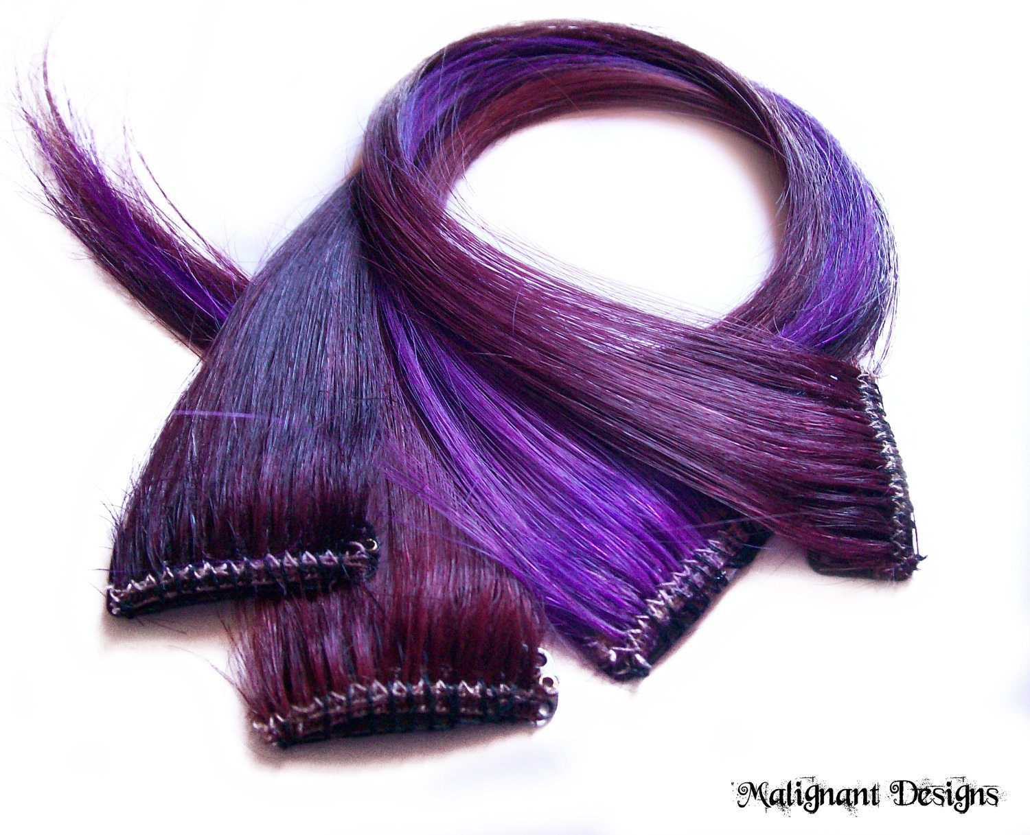 SET OF FOUR 16 Inch Purple Clip-in Hair By Malignantdesigns