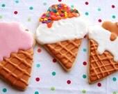 Ice Cream Cone Sugar Cookies - 1 Dozen