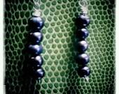 Violet Rain - cultured pearl and silver chain dangles