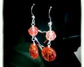 Rosette - red orange Czech glass rosette and silver earrings