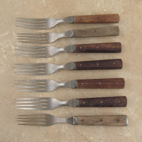 Seven 19th C. Antique Wood Handle Four Tine Table Forks