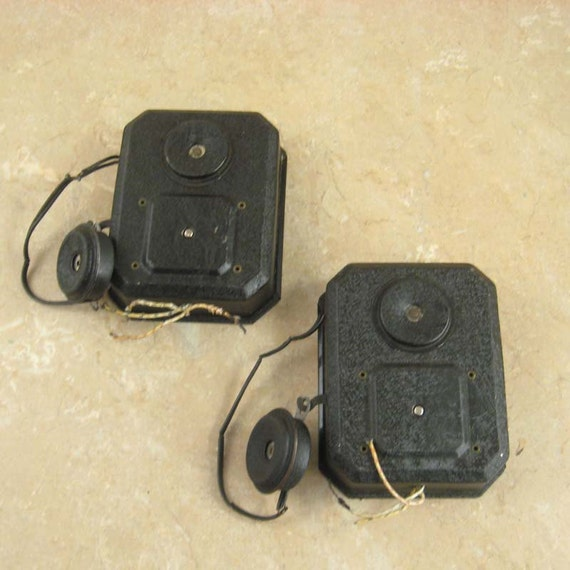 Antique Industrial Telephone Intercom - Black Crackle Finished Metal