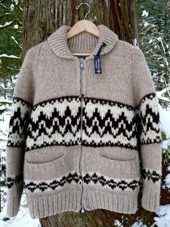 BlackGarden. 1960s Gorgeous Wool Cowichan Sweater Jacket Super Warm, Cozy & Awesome Unisex.