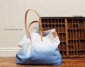 TOTE BAG...Blue (with leather strap)....large size