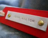 Custom Leather Luggage Tag - (1 Tag)  - Cherry Red - Perfect Gift for Birthday, Wedding or Anniversary