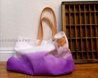 TOTE BAG..purple (with leather strap)
