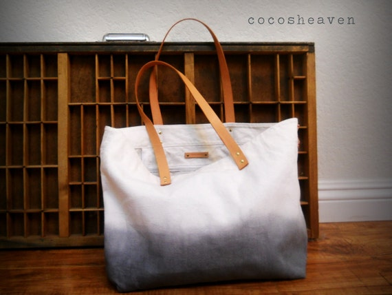 CANVAS TOTE BAG..gray (with leather strap)...extra-large size - beach bag size