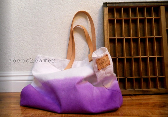 CANVAS TOTE BAG..purple (with leather strap)