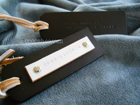 2 Custom Leather Luggage Tags - Dark Brown - Perfect Gift for Valentine, Birthday, or Wedding