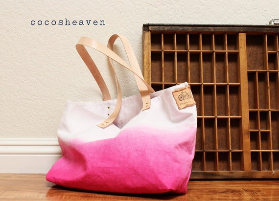TOTE BAG...Pink (with leather strap)....large size