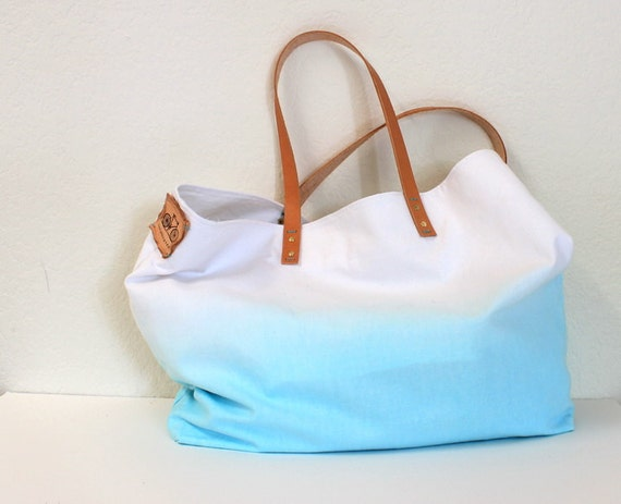 TOTE BAG...Aquamarine with leather strap.... (featured on Etsy front page)