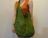 SALE SALE SALE  Hobo Hippie Bag - Diaper bag - Messenger - Crossbody, Thai Elephant Print Green Bag