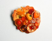 Orange Crush Collage Brooch