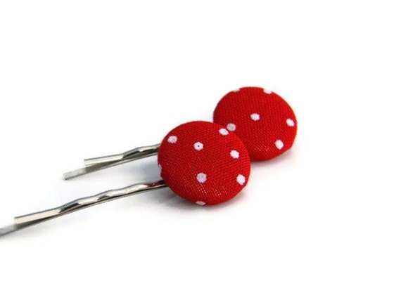 CLOSING SALE, Fabric buttons, Red Polka Dot, Hair Pins, Fabric Covered Button, Bobby Pins,Hair Accessories