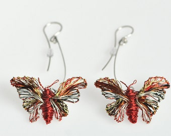 Butterfly earrings Red earring Wire sculpture Long Dangle earring Butterfly jewelry Insect jewelry Spring Birthday gift for her Boho jewelry