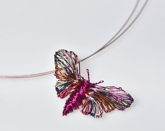 Butterfly art pendant Wire Butterfly pendant Butterfly necklace Butterfly jewelry Fuchsia necklace Rainbow jewelry Cute necklace gift.