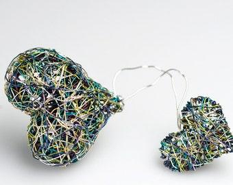 Art brooch Heart brooch Two hearts jewelry Light green jewelry Wire heart Art jewelry Modern Contemporary Unusual love jewelry Gift for her