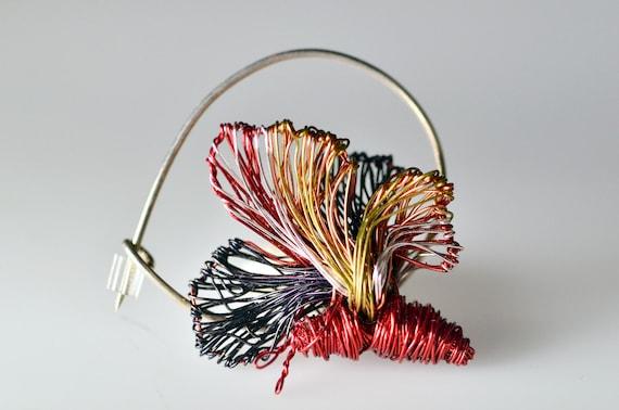 Butterfly brooch.Brooch butterfly.Wire butterflies.Wire brooch.Pin butterfly.Red butterfly brooch.