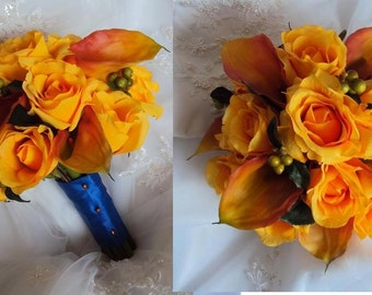 Wedding Silk Real Touch Flamed Orange Calla Lilies and Silk Yellow Roses Wedding Bouquet