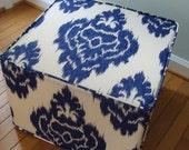 pouf Ikat Duralee unique floor ottoman modern pouf blue and ivory ikat
