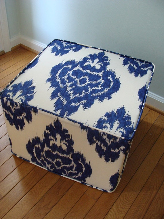 pouf Ikat Duralee unique floor ottoman modern pouf blue and ivory ikat