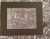 Creatures of the Night 5x7 Reproduction Print Detailed Drawing with 8x10 Mat