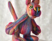 Funky Cat variegated, soft, wool - OOAK Collectible - gift idea