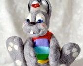 Bunny Funny grey Handmade Needle Felted Artist  - gifts idea
