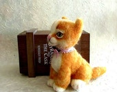 The kitten funny red soft wool, a gift for mother, girl, OOAK