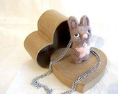 Star Bunny Pink Lucky small Wool Pendant Necklace - Hand Felted - gift idea