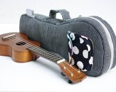 Soprano ukulele case - The Blue Hour -- Blue and White Stripe Japanese Cotton Denim Ukelele Bag (Ready to ship)