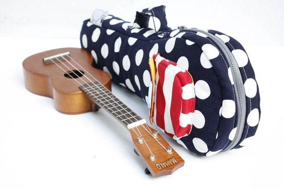 Soprano ukulele case - Happy Dot - Navy Blue Polka Dot and Red Stripe Ukelele Bag (Made to order)