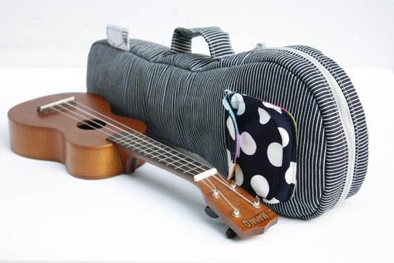 Soprano ukulele case - The Blue Hour -- Blue and White Stripe Japanese Cotton Denim Ukelele Bag (Made to order)