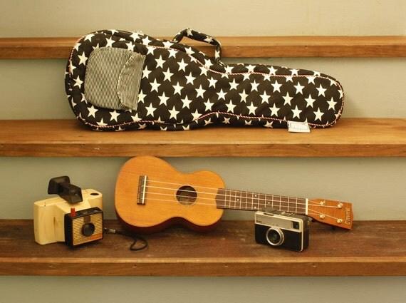 Concert ukulele case - ROCK STAR -- Black and White Star Ukulele Bag (ready to ship)