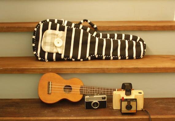 Black Coffee -- Black and White Stripe Ukulele Bag (Concert size) - Custom Made