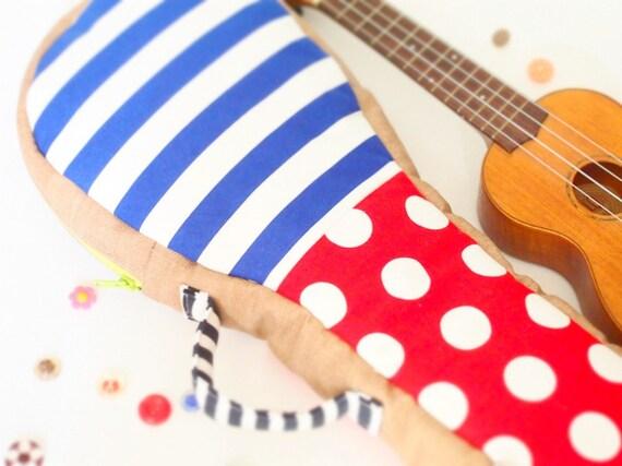 Happiness garden - Polka dot and stripe ukulele bag (soprano size)