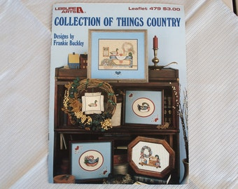 Vintage Leisure Arts Needlepoint Leaflet Issue 479 Collection of Things Country.