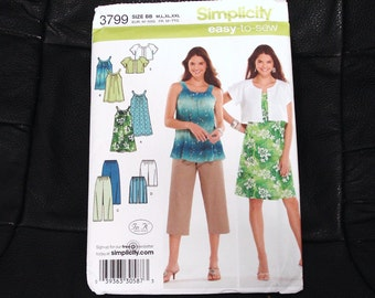 SIMPLICITY Easy-To-Sew Series Patterns 3799 Sizes BB