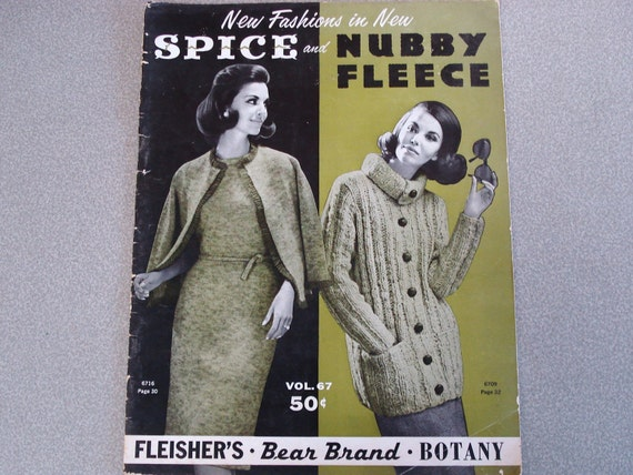 Vintage BOTANY Bear Brand Fleisher Yarns Vol 67 Nubby Fleece.