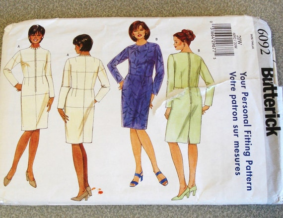 BUTTERICK Pattern 6092 Lady's Dress Sizes 20W Uncut.