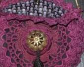 Vintage Purple Irish Crochet Reticule Purse with Skull and Crossbones Lining
