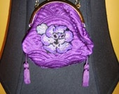 Gorgeous Vintage Tiny Quilted Purse with 1920s Beaded Motif