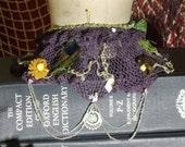 Vintage Crochet Collar with Undersea Caught Treasures Steampunk, Gothic, Vampire, Pirate