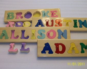 Hand Crafted personalized wooden name puzzles must5rg4 grt