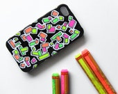 Iphone 4 case cover fluorescent neon pink green orange yellow black painted