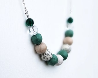 Green beaded necklace, fabric covered beads in emerald, wood and cream